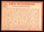1964 Topps #207  Fred Hutchinson  Back Thumbnail