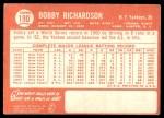 1964 Topps #190  Bobby Richardson  Back Thumbnail