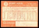 1964 Topps #374 STR Bobby Bolin  Back Thumbnail