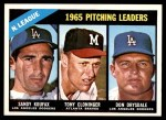 1966 Topps #223   -  Sandy Koufax / Don Drysdale / Tony Cloninger NL Pitching Leaders Front Thumbnail