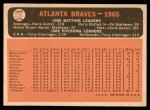 1966 Topps #326 xDOT  Braves Team Back Thumbnail