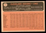 1966 Topps #303 DOT  Indians Team Back Thumbnail