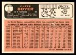 1966 Topps #9  Clete Boyer  Back Thumbnail