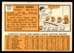 1963 Topps #137  Mack Jones  Back Thumbnail