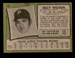 1971 Topps #192  Bill Wilson  Back Thumbnail
