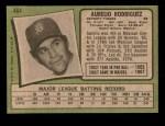 1971 Topps #464  Aurelio Rodriguez  Back Thumbnail