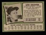 1971 Topps #372  Lew Krausse  Back Thumbnail
