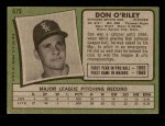 1971 Topps #679  Don O'Riley  Back Thumbnail
