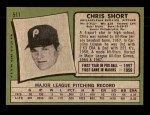 1971 Topps #511  Chris Short  Back Thumbnail