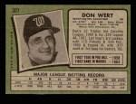 1971 Topps #307  Don Wert  Back Thumbnail