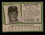 1971 Topps #744  Charlie Manuel  Back Thumbnail