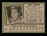 1971 Topps #430  Wes Parker  Back Thumbnail