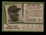 1971 Topps #437  Danny Murtaugh  Back Thumbnail