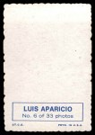 1969 Topps Deckle Edge #6  Luis Aparicio  Back Thumbnail