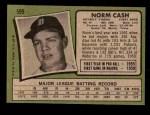 1971 Topps #599  Norm Cash  Back Thumbnail