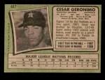 1971 Topps #447  Cesar Geronimo  Back Thumbnail