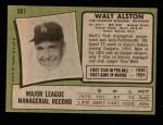 1971 Topps #567  Walter Alston  Back Thumbnail