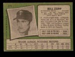 1971 Topps #271  Bill Zepp  Back Thumbnail