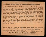 1941 Gum Inc. War Gum #81   Plane Drops Flag On Unknown Soldier's Tomb Back Thumbnail