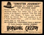 1950 Topps Hopalong Cassidy #227   Hoppy finds the accused man Back Thumbnail