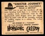 1950 Topps Hopalong Cassidy #228   California pulls switch Back Thumbnail