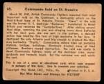1941 Gum Inc. War Gum #65   Commando Raid On St. Nazaire Back Thumbnail