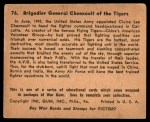 1941 Gum Inc. War Gum #76   Brigadier General Chennault Of The Tigers Back Thumbnail