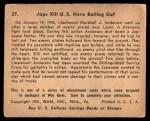 1941 Gum Inc. War Gum #37   Japanese Kill U.S. Hero Bailing Out Back Thumbnail