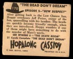 1950 Topps Hopalong Cassidy #170   New suspect Back Thumbnail