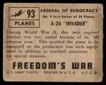 1950 Topps Freedoms War #93   A-26 Invader   Back Thumbnail