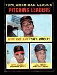 1971 Topps #69   -  Mike Cuellar / Dave McNally / Jim Perry AL Pitching Leaders   Front Thumbnail