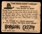 1950 Topps Hopalong Cassidy #179   The killer is here Back Thumbnail