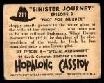 1950 Topps Hopalong Cassidy #211   Plot for murder Back Thumbnail