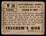 1950 Topps Freedoms War #30   Rushed by Reds   Back Thumbnail
