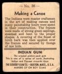 1947 Goudey Indian Gum #36   Making Canoe Back Thumbnail