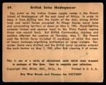 1941 Gum Inc. War Gum #69   British Seize Madagascar Back Thumbnail