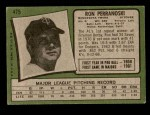 1971 Topps #475  Ron Perranoski  Back Thumbnail