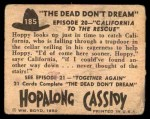 1950 Topps Hopalong Cassidy #185   California to the rescue Back Thumbnail