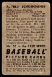 1952 Bowman #30  Red Schoendienst  Back Thumbnail