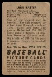 1952 Bowman #95  Luke Easter  Back Thumbnail