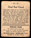 1947 Goudey Indian Gum #42   Chief Red Cloud Back Thumbnail