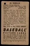 1952 Bowman #113  Al Zarilla  Back Thumbnail