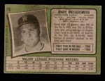 1971 Topps #15   -  Andy Messersmith    Back Thumbnail