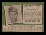 1971 Topps #410  Ken Holtzman  Back Thumbnail