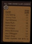 1973 Topps #472   -  Lou Gehrig All-Time Grand Slam Leader Back Thumbnail