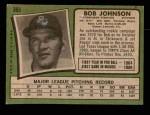 1971 Topps #365  Bob Johnson  Back Thumbnail