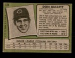 1971 Topps #124  Don Gullett  Back Thumbnail