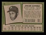 1971 Topps #23  Oscar Gamble  Back Thumbnail
