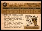 1960 Topps #207  Bob Boyd  Back Thumbnail