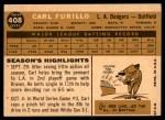 1960 Topps #408  Carl Furillo  Back Thumbnail